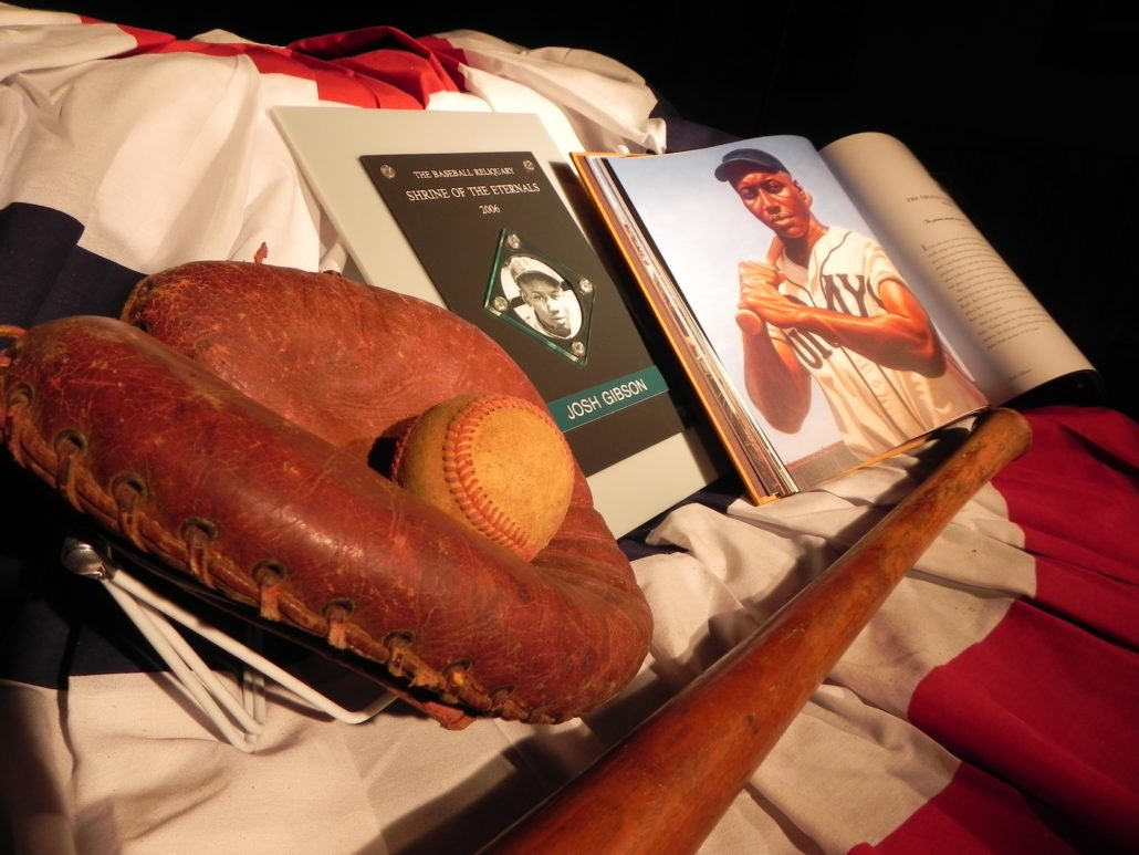 Josh Gibson Bat, glove and art