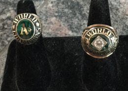 Two Oakland A's World Championship rings