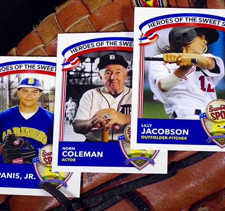 3 baseball cards front display